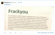 Our campaign is called FRACK YOU!